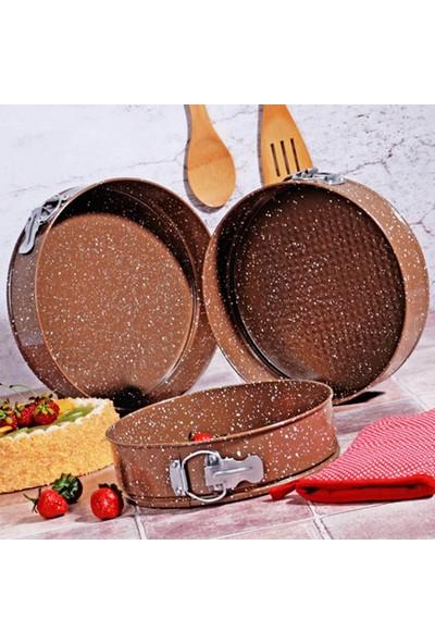 Kitchen World Modernica Kelepçeli 3lü Granit Kek Kalıbı Kahve