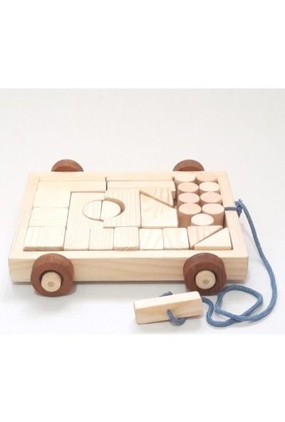 İcat Çıkartıyoruz Arabalı Yapı Blokları Ahşap Eğitici Oyuncak - Doğal