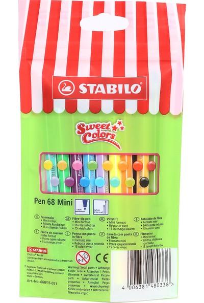 Stabilo Pen 68 Mini Sweet Colors 15'li Paket - 1 mm Uç