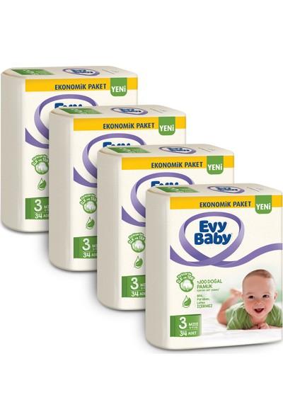 Evy Baby Bebek Bezi 3 Beden Midi 4'lü Fırsat Paketi 136 Adet