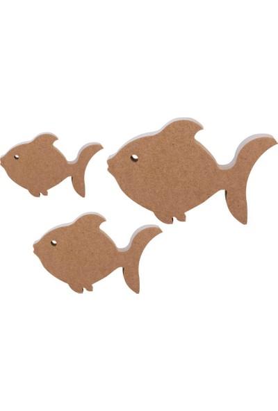 Okutan Hobi 3'lü Balık Set Ahşap Biblo KOD:F28
