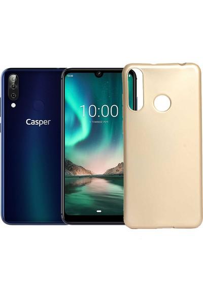 Case 4U Casper Via F3 Kılıf Mat Silikon Arka Kapak Premier Altın