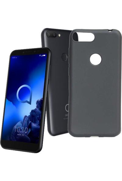 Case 4U Alcatel 1S Kılıf Mat Silikon Arka Kapak Premier Siyah