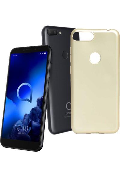 Case 4U Alcatel 1S Kılıf Mat Silikon Arka Kapak Premier Altın