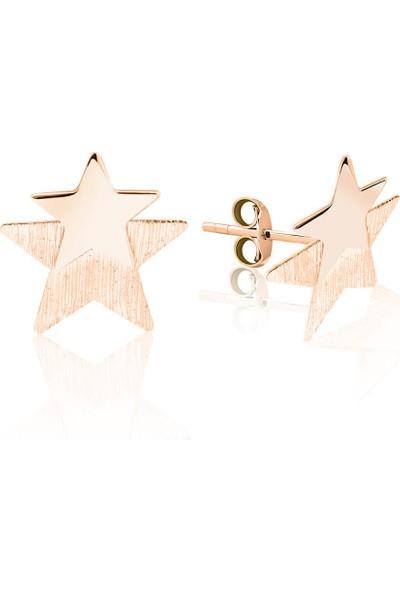 Lilarote Pırlanta Kayan Yıldız Modeli Rose Altın Küpe