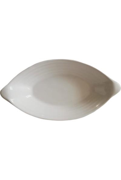 Evanilife Beyaz Renk Yaprak Desen Kahvaltı ve Çerez Tabağı