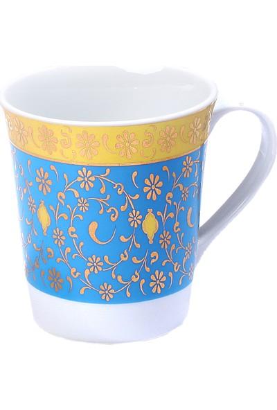 Güral Porselen Kse 1 Adet Özel Tasarım Sarı ve Turkuaz Mug Bardak