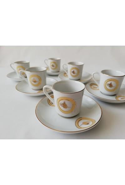 Güral Porselen Tuğralı Yaldızlı 6 Kişilik 12 Parça Kahve Fincan Takımı