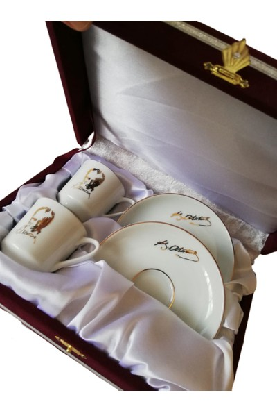 Güral Porselen Atatürk Imza ve Silüetli 2 Kişilik Kadife Kutulu Kahve Fincan Takımı