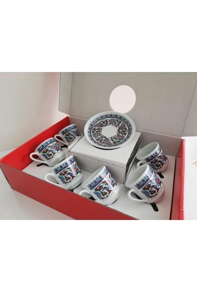 Güral Porselen 6 Kişilik 12 Parça Topkapı Kahve Fincan Seti