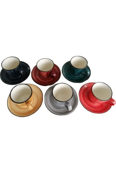 Porline Kahve Fincan Takımı Karışık Renk 6 Kişilik 12 Parça