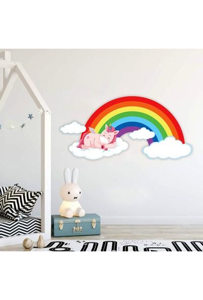 Areksan Reklam Unicorn Gökkuşağı ve Bulutlar Çocuk Odası Duvar Sticker