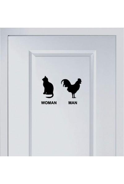 Areksan Reklam Man Woman Wc Kedi Horoz Banyo Sticker