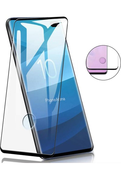 Case 4U Samsung Galaxy Note 10 Plus 5D Kavisli Temperli Cam Ekran Koruyucu Film Siyah