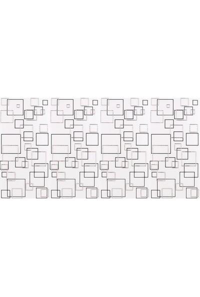 Mcm Mutfak Tezgah Arası Seramik Granit Dekor Kare Beyaz Gümüş
