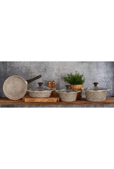 Falez Doa Cast Granit Döküm Set 7 Parça-Krem