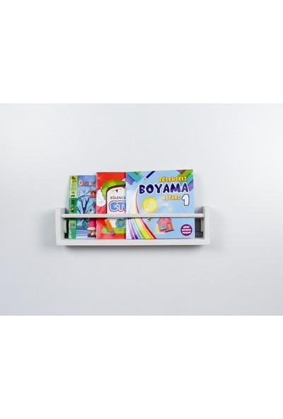 Şahin Mobilya Çocuk Odası Ahşap Montessori Raf Kitaplık 50 cm Eskitme Beyaz