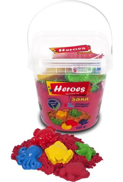 Heroes Kırmızı Kovalı Kinetik Kum +Kalıp 500 gr