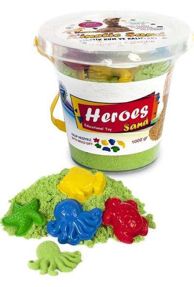 Heroes Kovalı Yeşil Kinetik Kum+Kalıp 1000 gr