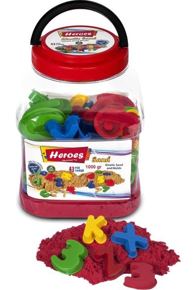 Heroes kırmızı Kinetik Kum Pet Kutulu Harf ve Rakam Kalıp 1000 gr