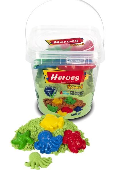 Heroes Yeşil Kovalı Kinetik Kum+Kalıp 500 gr