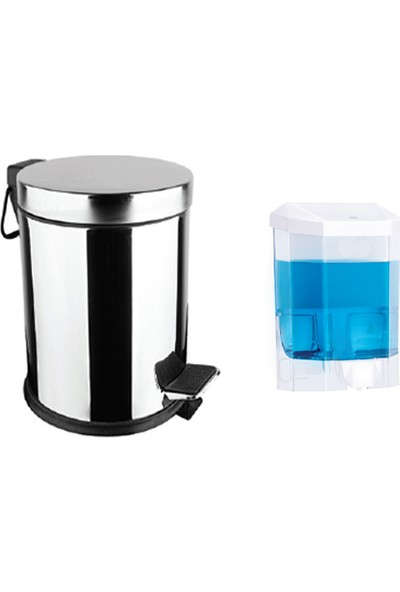 Aksesuaros 3 lt Çöp Kovası + Şeffaf Sıvı Sabunluk Banyo Seti