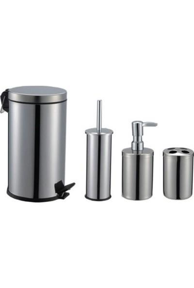 Aksesuaros Concept 4'lü Krom Çöp Kovalı Banyo Seti