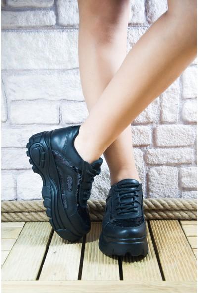 Noa Shoes Siyah Kadın Yüksek Taban Pullu Detay Spor Ayakkabı