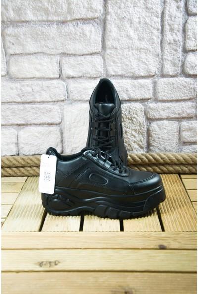 Noa Shoes Kalın Taban Siyah Mat Kadın Spor Ayakkabı