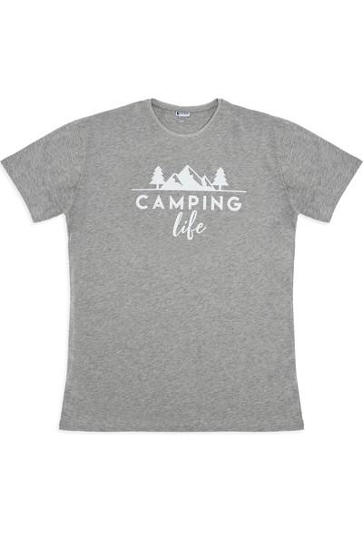 Ever Camping Tişört camping life Gri Melanj