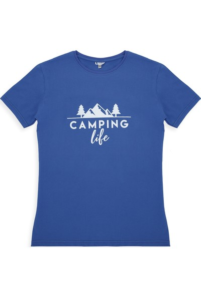 Ever Camping Tişört camping life Saks Mavi