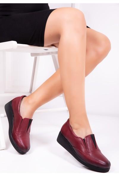 Tarçın Deri Bordo Anatomik Günlük Kadın Ayakkabı TRC126-6534