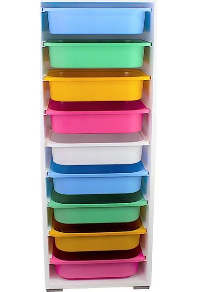 Pratico Renkli Çok Amaçlı 9 Sepetli Mutfak Banyo Kiler Dolabı