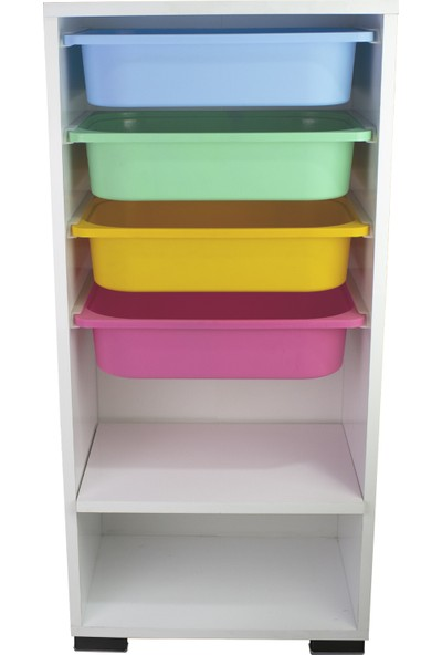 Pratico Renkli Çok Amaçlı 4 Sepetli Mutfak Banyo Kiler Dolabı