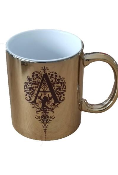 Heyybe Kişiye Özel Harf Tasarımlı Altın Porselen Kupa