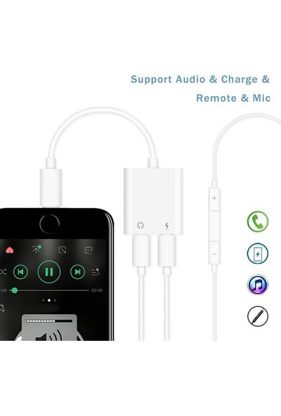 CoverZone Apple iPhone Lightning to Lightning Şarj Kulaklık Çoklayacı Konuşma Destekli Beyaz