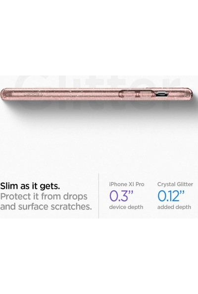 Spigen Apple iPhone 11 Pro Max Kılıf Liquid Crystal Glitter Rose Quartz - 075CS27132