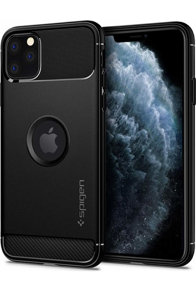 Spigen Apple iPhone 11 Pro Max Kılıf Rugged Armor Black - 075CS27133