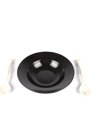 Lendi Porselen Salata Çatal Kaşık Setli Salata Kasesi Siyah