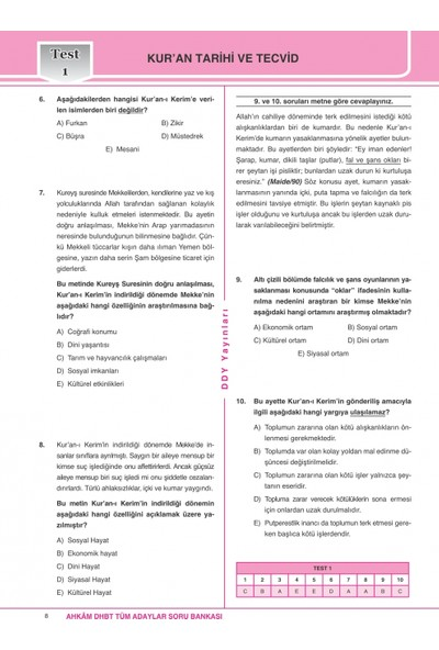 Ddy Yayınları DHBT 2020 Ahkam Serisi Tüm Adaylar Soru Bankası