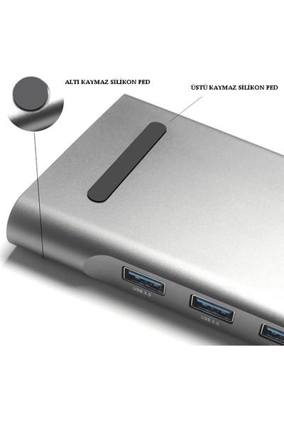 Daytona 11 in 1 Type-C™ to Audio Port 3XUSB 3.0 Gigabit Ethernet SD DP 4K Ultra HD HDMI VGA Type-C Macbook Uyumlu Çoklayıcı Adaptör