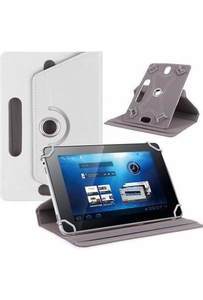 """AksesuarFırsatı Piranha Joy II Tab 7.0"""" Tablet Dönerli Tablet Kılıfı Beyaz"""