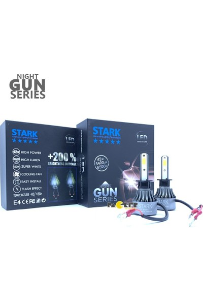 Stark Night Gun H1 8400 Lümen Güç Şimşek Etkili LED Xenon 6500 Kelvin Beyaz Fan Soğuculu Far Ampulü