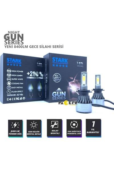 Stark Night Gun H7 8400 Lümen Güç Şimşek Etkili LED Xenon 6500 Kelvin Beyaz Fan Soğuculu Far Ampulü