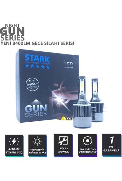 Stark Night Gun H15 8400 Lümen Güç Şimşek Etkili LED Xenon 6500 Kelvin Beyaz Fan Soğuculu Far Ampulü