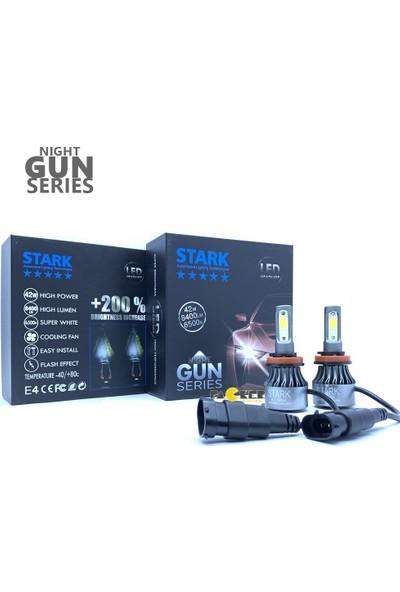 Stark Night Gun H16 8400 Lümen Güç Şimşek Etkili LED Xenon 6500 Kelvin Beyaz Fan Soğuculu Far Ampulü