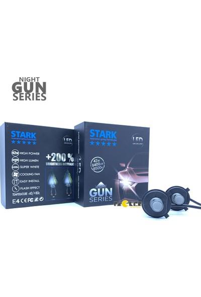 Stark Night Gun H4 8400 Lümen Güç Şimşek Etkili LED Xenon 6500 Kelvin Beyaz Fan Soğuculu Far Ampulü