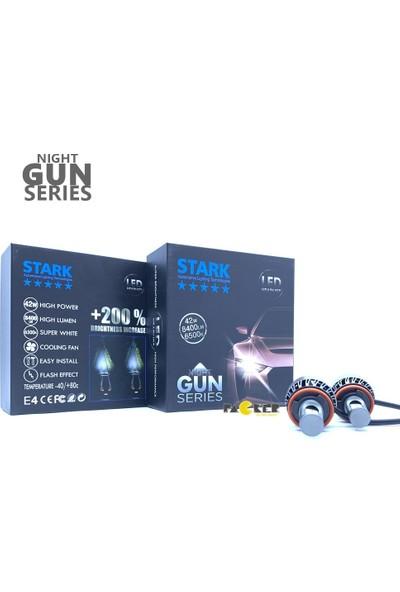 Stark Night Gun H8 8400 Lümen Güç Şimşek Etkili LED Xenon 6500 Kelvin Beyaz Fan Soğuculu Far Ampulü