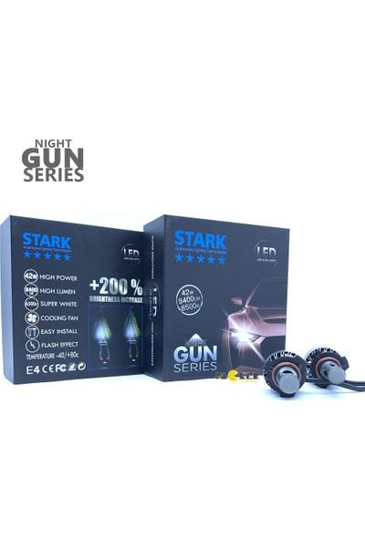 Stark Night Gun Hb3 9005 8400 Lümen Güç Şimşek Etkili LED Xenon 6500 Kelvin Beyaz Fan Soğuculu Far Ampulü