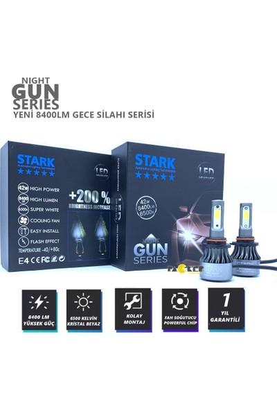 Stark Night Gun Hb4 9006 8400 Lümen Güç Şimşek Etkili LED Xenon 6500 Kelvin Beyaz Fan Soğuculu Far Ampulü
